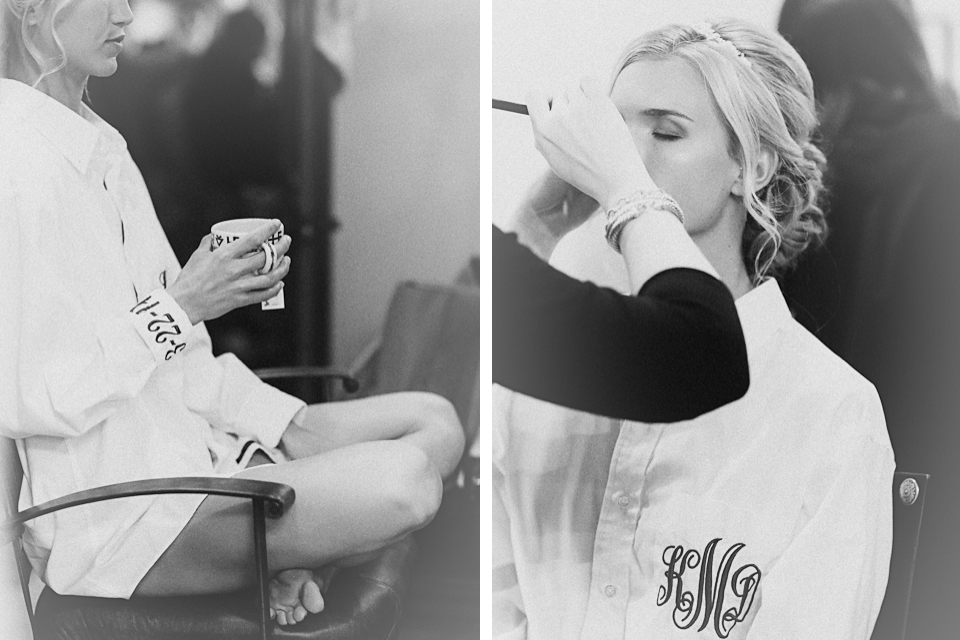 Bridal Getting Ready - Black + White - Monogrammed Button Down