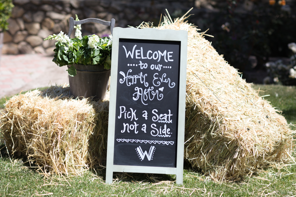 Valorie Darling Photography - Fess Parker Winery Wedding - pick a seat not a side sign