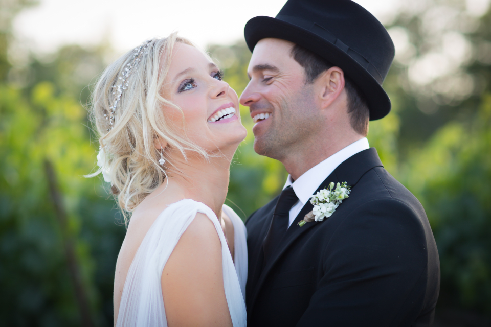 Valorie Darling Photography - Fess Parker Winery Wedding - Bride + Groom laugh
