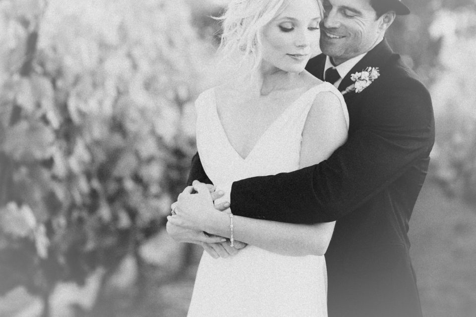Valorie Darling Photography - Fess Parker Winery Wedding - Bride + Groom black and white