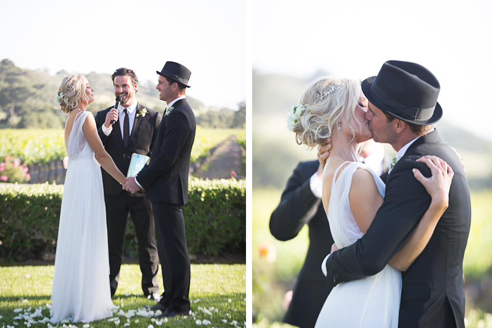 Santa Barbara - Fes Parker Winery Wedding - The Kiss - Ceremony
