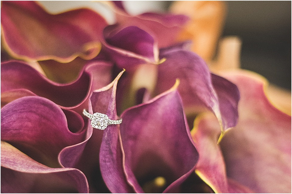 Ring shot in calla lily wedding bouquet